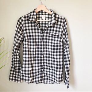 J.crew gingham print button up top 278